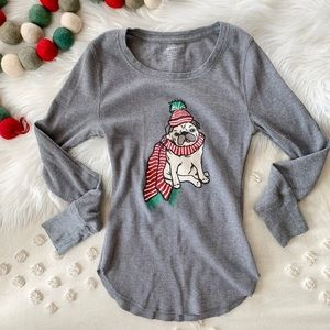 Old Navy Tops - Christmas Pug Thermal Pajama Top